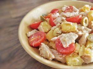insalata di tacchino patate pomodori e olive